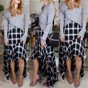 Plaid High-Low Woven Skirt